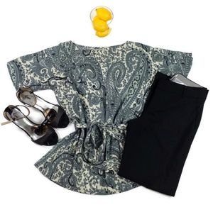 World Market Gray Paisley Print Belted Top Women S